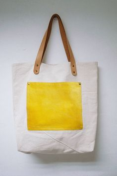 Leathinity - Yellow Canvas Tote Bag w/ Genuine Leather Handles ...
