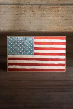 "Kalalou American Flag Gold Framed Oil Painting 41""x24.5""  20% off #starsandstripes #americanflag #oilpainting #usa #proudamerican #redwhiteandblue"