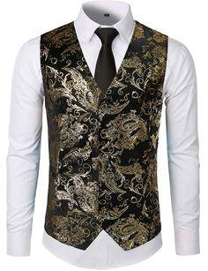 e6a88675 ZEROYAA Mens Hipster Metallic Paisley Printed Single Breasted V-Neck Suit  Vest/Tuxedo Waistcoat