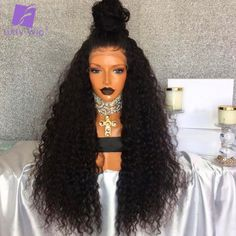 Luffy 180% Density Brazilian Non Remy Hair 13*6 Curly Lace Front Human Hair Wigs For Black Women 24 Inches Natural Color