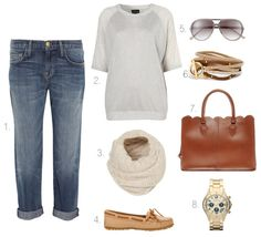 The Airport Essentials  1. Current/Elliott The Boyfriend Jeans $206  2. Knitted Lurex Sweater $72  3. Two Tone Zigzag Snood $32  4. Minnetonka Leather Moccasin $50  5. Halogen Aviator Sunglasses $58  6. Gorjana Graham Leather Triple Strand Wrap $98  7. ASOS Leather Scallop Edge Shopper $128  8. Marc by Marc Jacobs Rock Chronograph Bracelet Watch $300