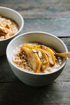 Creamy Whole Oats with Cardamom Roasted Pears   FARMERS' MARKET LIST: pears, maple syrup, milk