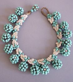 {Daily Jewel} HASKELL Aqua Glass Beaded Balls and Clear Rhinestone Leaves Necklace, circa 1940