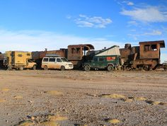 Hiding from the icecold wind on the train graveyard near Uyuni Bolivia  Next to us the VW T4 Camper of Anita & Herbert from Austria and to the left the 30 year old Nissan Pickup Camper of Doro and Felix from Germany.  #uyarak #LandRover #LandRoverDefender #Defender #Defender130 #300tdi #HomeIsWhereYouParkIt #Overland #Overlanding #Travel #Traveling #Panamericana #RoadTrip #Explore #NeverStopExploring #SouthAmerica #Bolivia #train #graveyard #vw #t4 #nissan #camper #camping @felix_klein_klein…