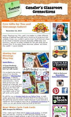 Free Gifts and Giveaways Galore! Read this issue of Candler's Classroom Connections to find out where to download 17 teacher products absolutely free for 2 days!