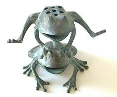 Bronze Leaping Frogs Statue Garden Decor By BlackRhinoVintage, $42.00