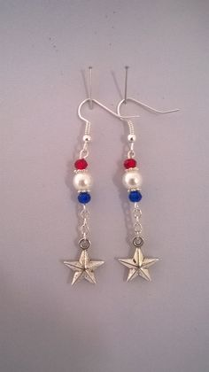 Handmade Patriotic Earrings Red White and Blue by K8tieSparkles