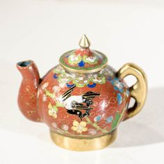 Miniature cloisonne enamel teapot. A charming antique Chinese collectable, traditional enameled with bird and flower motif. Asian gift ideas