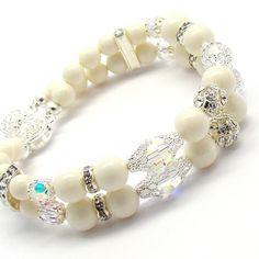Pulsera de perlas de Marfil doble filamento perlas de por martaky, $49.00