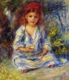 Pierre-Auguste Renoir - Little Algerian Girl Art Print. Explore our collection of Pierre-Auguste Renoir fine art prints, giclees, posters and hand crafted canvas products Pierre Auguste Renoir, Claude Monet, August Renoir, Renoir Paintings, Impressionist Paintings, Painting Of Girl, Camille Pissarro, Paul Cezanne, Manet