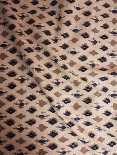 Beige Brown Indigo Hand Block Printed Cotton Cambric Fabric Piece 2.5m - F0916392