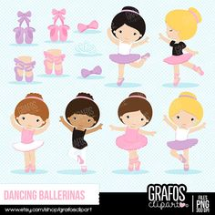 DANCING BALLERINA  Digital Clipart Set  Ballerina by GRAFOSclipart