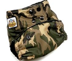 GREEN CAMOUFLAGE PUL ONE SIZE POCKET CLOTH DIAPER 12-35+LBS