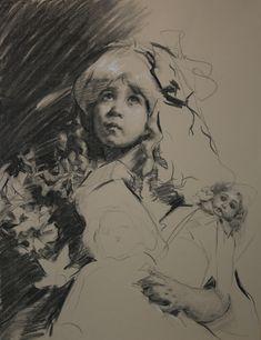 "Teresa Oaxaca - ""Heidi"" 19x26"", charcoal and white chalk on Canson Mi-Teintes paper"