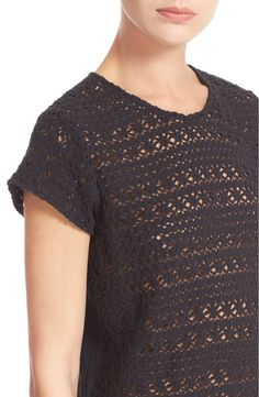 NWT! JOIE DALLIANCE B TEE NAVY BLUE XS, 100% COTTON, CROCHET #JOIE #KnitTop