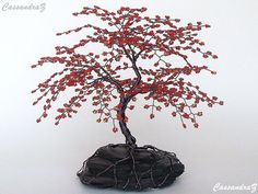 Red Cherry Blossom Beaded Bonsai Wire Tree Sculpture by CassandraZ, $160.00