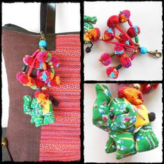 Elephant Colorful Little Pom Poms Keychain Zip Pull Bag Accessory Decoration by Handmade. (AC1004-GR)