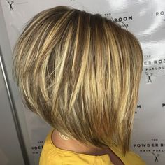 The Full Stack: 50 Hottest Stacked Haircuts Stacked Blonde Balayage Bob Blonde Balayage Bob, Golden Blonde Highlights, Blonde Layers, Short Hair With Layers, Blonde Bobs, Short Hair Cuts, Short Hair Styles, Bob Styles, Pale Blonde