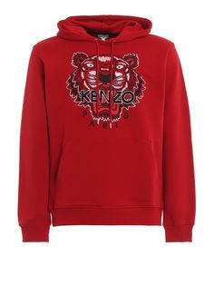 Kenzo Embroidered Tiger Hoodie In Red Tiger Hoodie, Red Hoodie, Fleece Hoodie, Hooded Sweatshirts, Cotton Logo, Cotton Fleece, Best Hoodies For Men, Kenzo Clothing, Mens Fashion