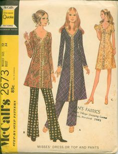 1970's Sewing Pattern  Fancy Retro Tunic and by shellmakeyouflip, $12.00 Wedding Dress Sewing Patterns, Vintage Dress Patterns, Vintage Dresses, Vintage Outfits, Vintage Clothing, 70s Fashion, Vintage Fashion, Retro Pattern, Sew Pattern