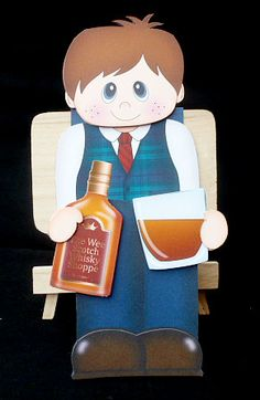 3D On the Shelf Card Kit Little Whisky Drinker Malcolm on Craftsuprint designed by Carol Clarke - made by Diane Hitchcox - I printed out onto 250 gram card ,scored and folded were instructed ,attached main image using strong dst,then decoupaged with sticky pads. - Now available for download!