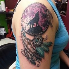 Cool Dreamcatcher Tattoo On Girl Right Shoulder                                                                                                                                                                                 More