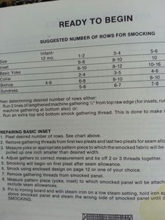 Suggested # of rows for smocking by size and garment type (bishop, collar, sundress, basic yoke, inset). Great to know!