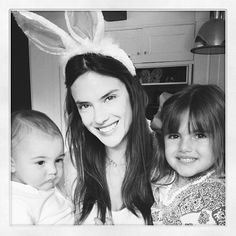 Allesandra Ambrosio and her kids.... Shes one of the top Victorias Secret models!! Shes from Brazil.. She seems nice!