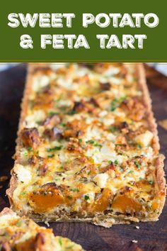 A Savoury Sweet Potato, Feta and Caramelised Onion Tart Sweet Potato and Feta Tart, with its hidden layer of caramelised onion, is the perfect vegetarian dish for an easy lunch or a light dinner. via Tania Quiche Recipes, Entree Recipes, Easy Dinner Recipes, Cooking Recipes, Easy Veg Recipes, Greek Recipes, Easy Dinners, Vegetarian Entrees, Vegetarian Dish