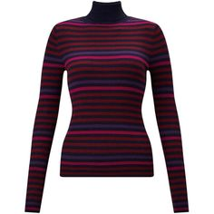 Miss selfridge navy and purple striped roll neck knitted jumper 1 460
