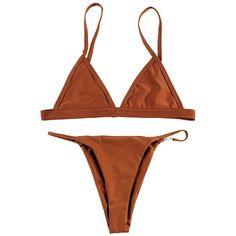 Macvise Women's 2 Pcs Bikini Triangle Top Brazilian Bottom Swimwear... (44 PLN) ❤ liked on Polyvore featuring swimwear, bikinis, tanga bikinis, bikini swimwear, bikini two piece, tanga swimwear and brazilian style bikini