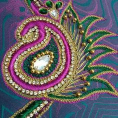 Bead Embroidery Patterns, Embroidery Works, Couture Embroidery, Embroidery Motifs, Hand Work Design, Hand Work Blouse Design, Simple Blouse Designs, Pattu Saree Blouse Designs, Blouse Designs Silk