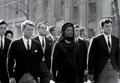 Brothers Robert and Ted Kennedy walk with Jackie at the funeral of President John Fitzgerald Kennedy.