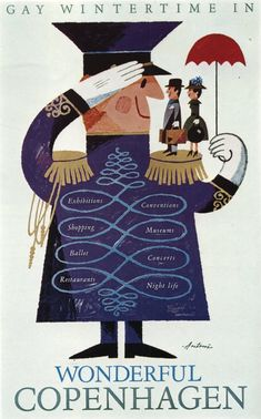 Vintage Copenhagen travel poster, illustrated by Antoni Jensen.