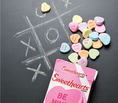 Did you know you can use conversation heart candies as chalk?