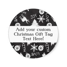 Chalkboard Christmas Pattern Holiday Gift Tag Label Sticker, Custom Printed! #christmas2014 #christmas #chalkboard