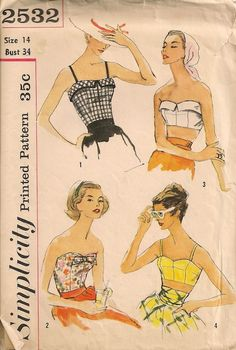 Vintage 1950's Bra and Tops Pattern Simplicity 2532 by SewPatterns