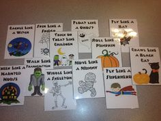 Halloween, my most recent addition to the set of movement activities for kiddos. When your students need to get their wiggles out have them line up on one side of the classroom. Show them one card at a Pe Activities, Halloween Activities For Kids, Movement Activities, Gross Motor Activities, Holiday Activities, Halloween Themes, Fall Halloween, Halloween Crafts, Halloween Party