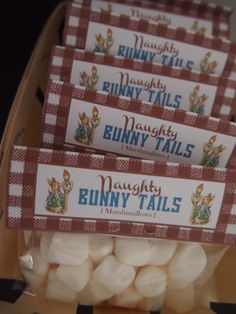"MARSHMALLOW BUNNY TAILS - Peter Rabbit Chevron Blue / Birthday ""Luca's Peter Rabbit 1st Birthday"" by www.PerfectPackages.blog.com"