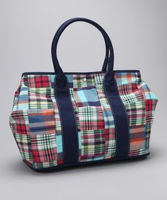 Pink & Green Plaid Large #Tote by Just Madras on #zulily