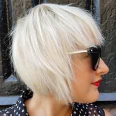Platinum Blonde Layered Bob