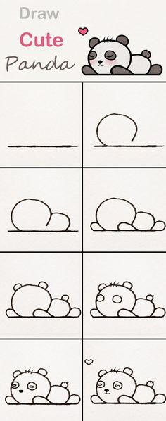 Learn step by step how to draw a cute panda baby ♥ s . Learn step by step how to draw a cute panda baby . Drawing Books For Kids, Art For Kids, Drawing Tutorials, Art Tutorials, Drawing Ideas, Drawing Art, Kawaii Drawings, Easy Drawings, Draw Disney