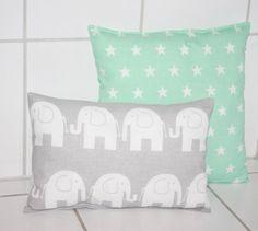 Kissen - Kinderkissen Elefanten grau weiß 20x30 Stoffwahl! - ein Designerstück…