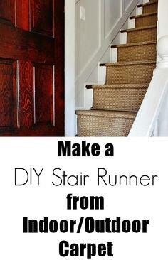 DIY:  How to Install a Stair Runner - made from indoor/outdoor carpet runners. Link to runners ($79 each) is on this post - via Thistlewood Farms