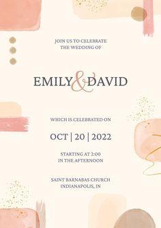 Watercolor Wedding Invitations, Wedding Invitation Templates, Abstract Watercolor, Vector Free, Typography, Design Inspiration, Graphic Design, Creative, Letterpress