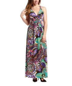 Look what I found on #zulily! Purple & Green Abstract Maxi Dress by Gilli #zulilyfinds