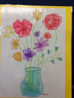 """Mother's Day Gift: Easy guided drawing, watercolor pencils, tips on shading, tiny brushes, a little bit of water, and there it is! On the reverse is an acrostic """"mother"""" poem. This is the standard result, 8 year old third grader!"""