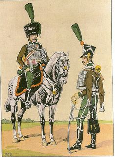 French; 13th Hussars, Elite Company & Line Company Trumpeters, 1813