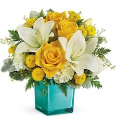 𝗚𝗼𝗹𝗱𝗲𝗻 𝗟𝗮𝘂𝗴𝗵𝘁𝗲𝗿 𝗕𝗼𝘂𝗾𝘂𝗲𝘁 As joyful as the laughter of a good friend, this mood-lifting mix of yellow roses and white lilies is artistically arranged in our exclusive Color Splash cube for a look that's modern and playful. Father's Day Flowers, Get Well Flowers, Summer Flowers, Winter Flowers, Send Flowers, Fresh Flower Delivery, Same Day Flower Delivery, White Carnation, White Lilies
