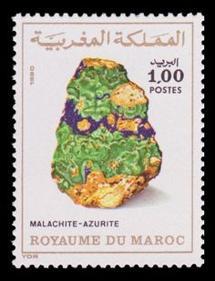 Malachite-Azurite . Malachite is a copper carbonate hydroxide mineral, Azurite is a soft, deep blue copper mineral. Postage stamp from Marocco  1980